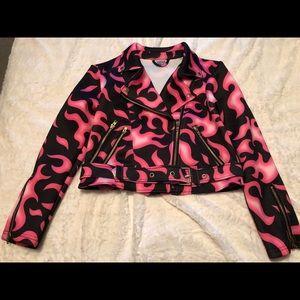 Dolls Kill Sugarpills Pink Flame Jacket Size Small